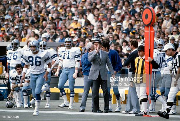 Head coach Tom Landry of the Dallas Cowboys looks on during an NFL football game circa 1978 Landry coached the Cowboys from 196088