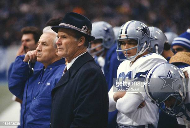 Head coach Tom Landry of the Dallas Cowboys looks on during an NFL football game circa 1980 Landry coached the Cowboys from 196088