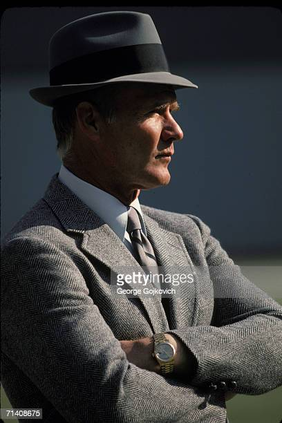 Head coach Tom Landry of the Dallas Cowboys on the sideline during a game against the Pittsburgh Steelers at Three Rivers Stadium on October 28 1979...