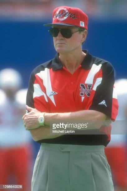 Head coach Tom Osborne of the Nebraska Cornhuskers looks on before a college football game against the West Virginia Mountaineers on August 31, 1994...
