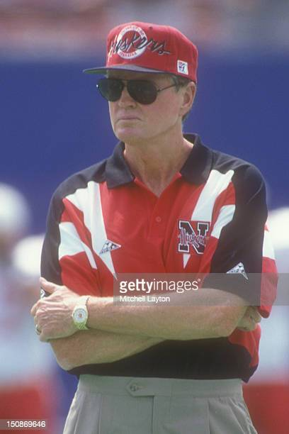 Head coach Tom Osbourne of the Nebraska Cornhuskers looks on before a college football game against the West Virginia Mountaineers on August 31 1994...