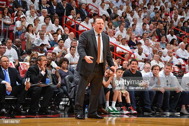 Head Coach Tom Thibodeau of the Chicago Bulls gives direction against the Miami Heat in Game One of the Eastern Conference Semifinals during the 2013...