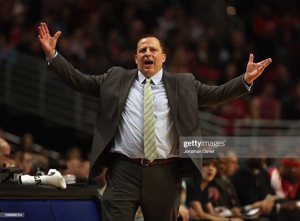 Head coach Tom Thibodeau of the Chicago Bulls questions a referee during a game against the Charlotte Bobcats at the United Center on December 31, 2012 in Chicago, Illinois. The Bobcats defeated the Bulls 91-81.
