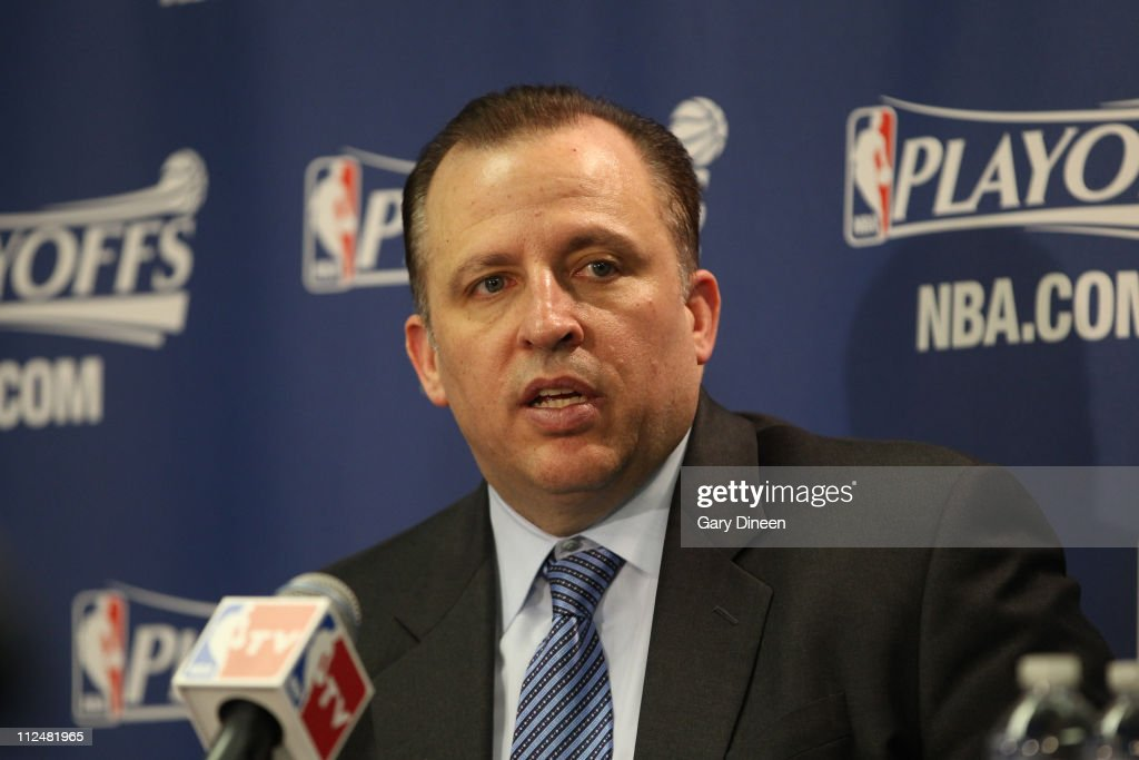Head Coach Tom Thibodeau of the Chicago Bulls talks during the press conference after Game Two of the Eastern Conference Quarterfinals against the Indiana Pacers in the 2011 NBA Playoffs on April 18, 2011 at the United Center in Chicago, Illinois.