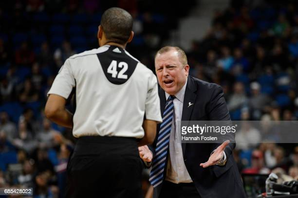 Head coach Tom Thibodeau of the Minnesota Timberwolves reacts to a call by referee Eric Lewis during the second quarter of the game against the...