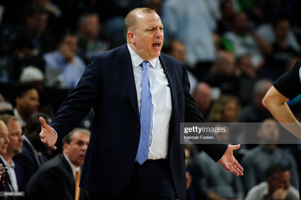 Head coach Tom Thibodeau of the Minnesota Timberwolves reacts to a call as his team plays against the Houston Rockets in Game Four of Round One of the 2018 NBA Playoffs on April 23, 2018 at the Target Center in Minneapolis, Minnesota. The Rockets defeated the Timberwolves 119-100.