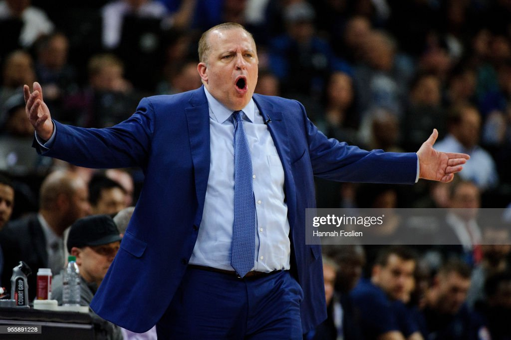 Head coach Tom Thibodeau of the Minnesota Timberwolves reacts to a call as his team play against the Houston Rockets in Game Three of Round One of the 2018 NBA Playoffs on April 21, 2018 at the Target Center in Minneapolis, Minnesota. The Timberwolves defeated 121-105.
