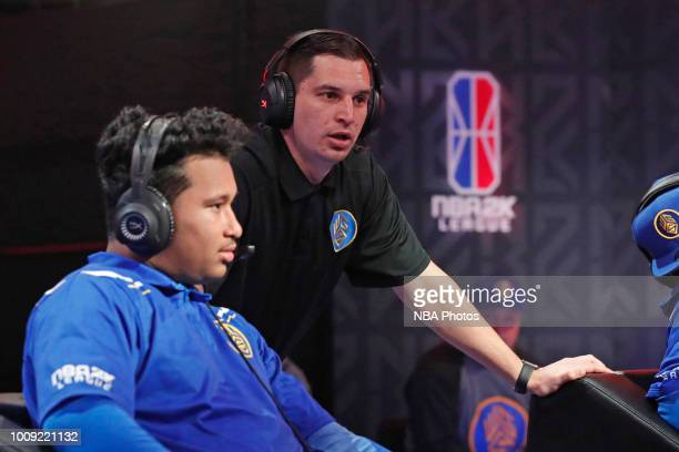 Head Coach Tommy Abdenour of Warriors Gaming Squad speaks with Sleep of Warriors Gaming Squad during the game against Wizards Gaming Squad on July 28...
