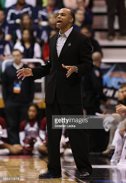 Head coach Tommy Amaker of the Harvard Crimson calls out in the first half while taking on the Arizona Wildcats during the third round of the 2013...