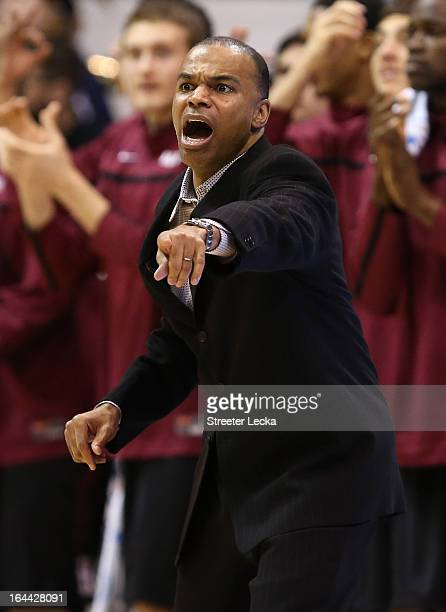 Head coach Tommy Amaker of the Harvard Crimson calls out in the second half while taking on the Arizona Wildcats during the third round of the 2013...