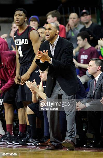 Head coach Tommy Amaker of the Harvard Crimson coaches during a game against the Yale Bulldogs at the Palestra on the campus of the University of...