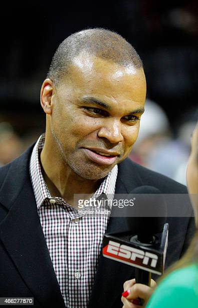 Head coach Tommy Amaker of the Harvard Crimson is interviewed by ESPN after winning a game against the Yale Bulldogs at the Palestra on the campus of...