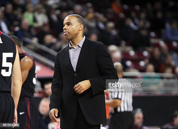 Head coach Tommy Amaker of the Harvard Crimson looks on from the sideline during a timeout in the game against the Boston College Eagles at Conte...