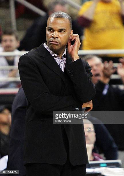 Head coach Tommy Amaker of the Harvard Crimson looks on from the sideline during the game against the Boston College Eagles at Conte Forum on January...