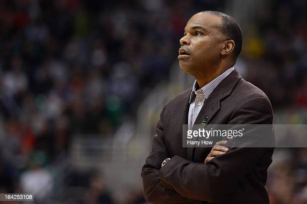 Head coach Tommy Amaker of the Harvard Crimson looks on in the first half against the New Mexico Lobos during the second round of the 2013 NCAA Men's...
