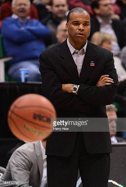 Head coach Tommy Amaker of the Harvard Crimson looks on in the first half while taking on the Arizona Wildcats during the third round of the 2013...