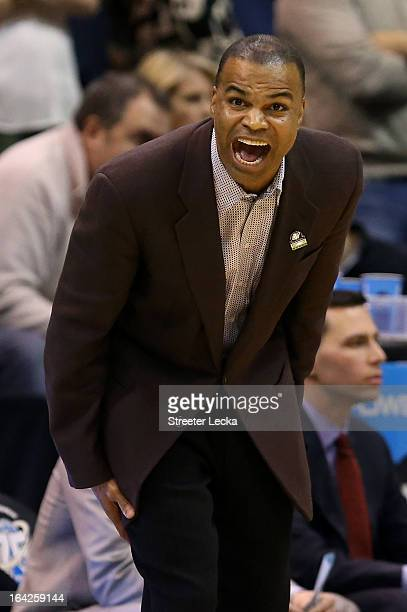 Head coach Tommy Amaker of the Harvard Crimson reacts in the second half while taking on the New Mexico Lobos during the second round of the 2013...