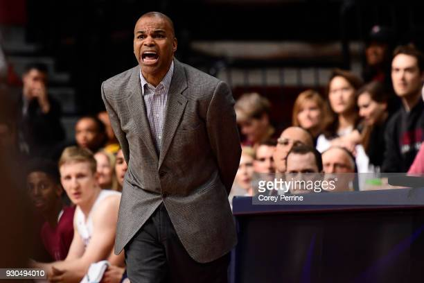 Head coach Tommy Amaker of the Harvard Crimson yells to his team during the first half of the Men's Ivy League Championship Tournament at The...