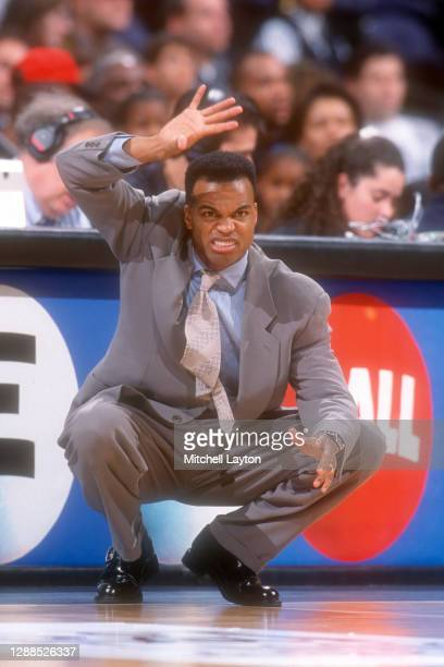 Head coach Tommy Amaker of the Seton Hall Pirates during a basketball game against the George Washington Colonials at MCI Center on December 4, 1999...