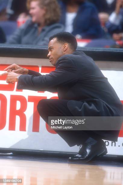 Head coach Tommy Amaker of the Seton Hall Pirates looks on during a college basketball game against the Georgetown Hoyas on February 3, 1998 at MCI...