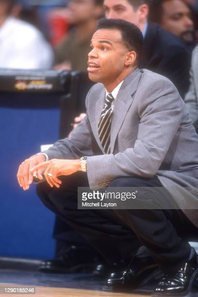 Head coach Tommy Amaker of the Seton Hall Pirates looks on during a basketball game against the Georgetown Hoyas at MCI Center on January 8, 1999 in...