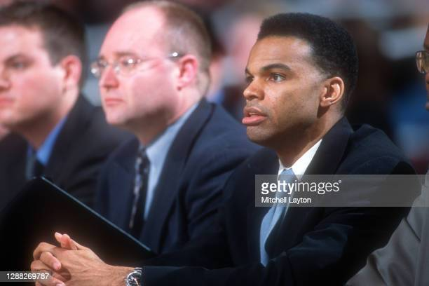 Head coach Tommy Amaker of the Seton Hall Pirates looks on during the quarterfinal round of the Big East Championships against Georgetown Hoyas at...