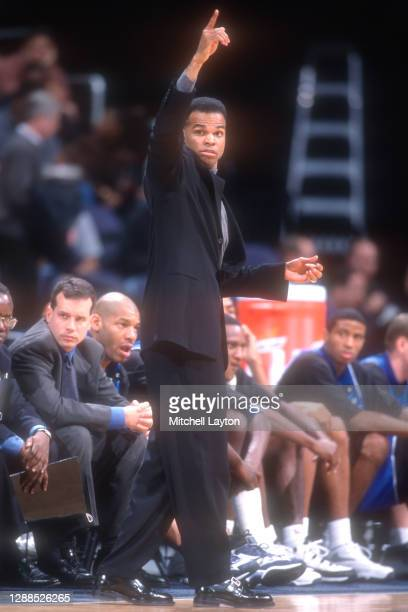 Head coach Tommy Amaker of the Seton Hall Pirates signals to his players during a college basketball game against the Georgetown Hoyas on January 20,...