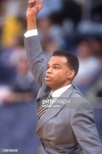Head coach Tommy Amaker of the Seton Hall Pirates signals to his players during a basketball game against the Georgetown Hoyas at MCI Center on...