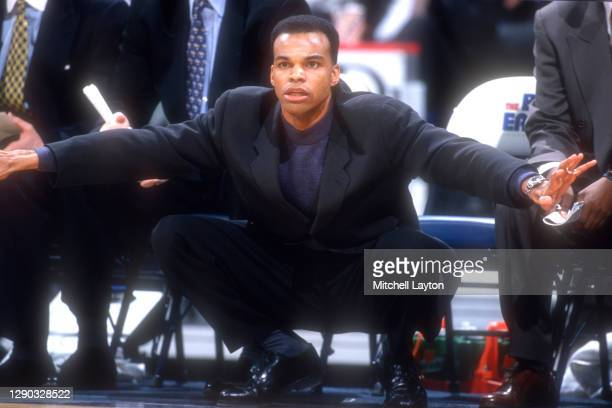 Head coach Tommy Amaker of the Seton Hall Pirates signals to his players during a college basketball against the Georgetown Hoyas at MCI Center on...