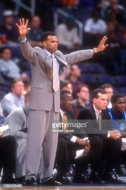 Head coach Tommy Amaker of the Seton Hall Pirates signals to his players during the BB&T college basketball game against the George Washington...