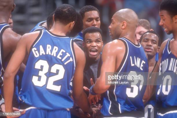 Head coach Tommy Amaker of the Seton Hall Pirates talks to his players during a college basketball against the Georgetown Hoyas at MCI Center on...