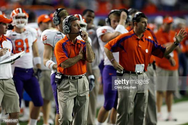 Head coach Tommy Bowden of the Clemson University Tigers reacts to a play against the Auburn University Tigers during the ChickFilA Bowl on December...