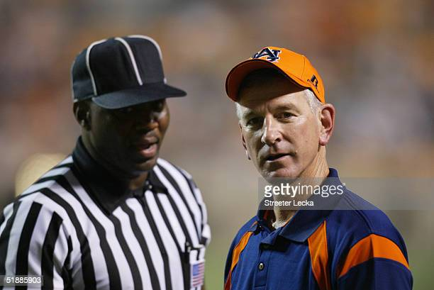 Head coach Tommy Tuberville of the Auburn Tigers looks on while facing the Tennessee Volunteers at Neyland Stadium on October 2 2004 in Knoxville...