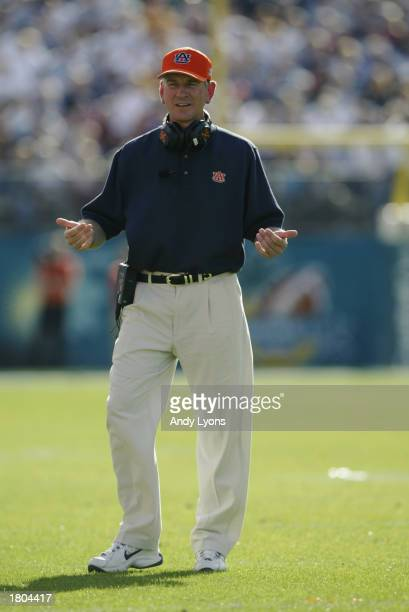 Head coach Tommy Tuberville of the Auburn University Tigers reacts to the Capital One Bowl against Pennsylvania State University Lions at Florida...