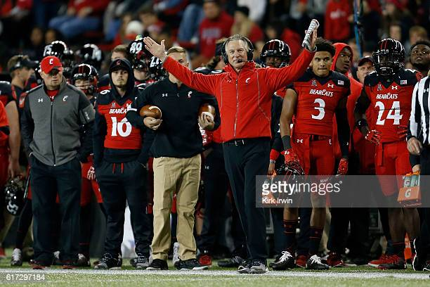 Head Coach Tommy Tuberville of the Cincinnati Bearcats argues a call during the second quarter of the game against the East Carolina Pirates at...