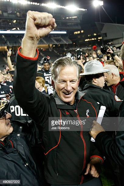 Head coach Tommy Tuberville of the Cincinnati Bearcats celebrates after the game against the Miami Hurricanes at Nippert Stadium on October 1, 2015...