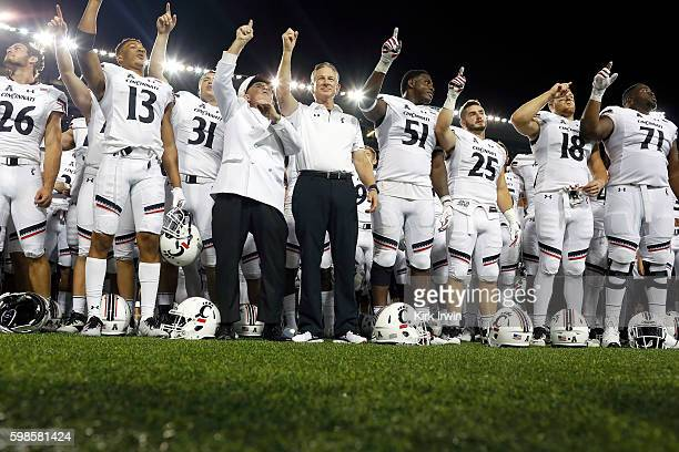 Head Coach Tommy Tuberville of the Cincinnati Bearcats celebrates with his team after defeating the Tennessee-Martin Skyhawks 28-7 at Nippert Stadium...