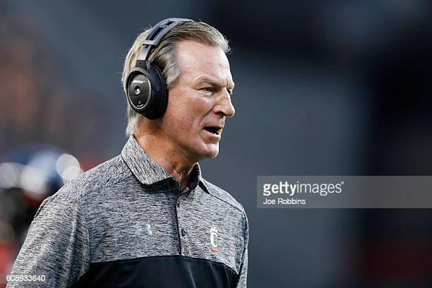 Head coach Tommy Tuberville of the Cincinnati Bearcats looks on in the first half against the Houston Cougars at Nippert Stadium on September 15,...