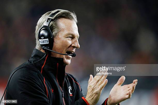 Head coach Tommy Tuberville of the Cincinnati Bearcats looks on against the Miami Hurricanes in the first half at Nippert Stadium on October 1, 2015...