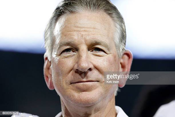 Head Coach Tommy Tuberville of the Cincinnati Bearcats stands with his players after defeating the Tennessee-Martin Skyhawks 28-7 at Nippert Stadium...