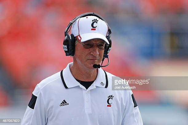 Head coach Tommy Tuberville of the Cincinnati Bearcats watches first quarter action against the Miami Hurricanes on October 11, 2014 at Sun Life...