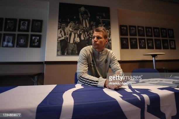 Head coach Toni Koskela of HJK Helsinki holds a press conference ahead of UEFA Europa League Play-off match between Fenerbahce and HJK Helsinki at...