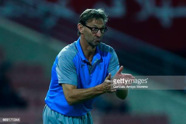 Head coach Tony Adams of Granada CF encourages his team during the La Liga match between Granada CF and Real Club Celta de Vigo at Estadio Nuevo Los...