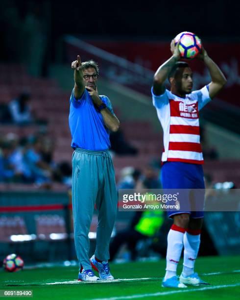 Head coach Tony Adams of Granada CF gives instructions during the La Liga match between Granada CF and Real Club Celta de Vigo at Estadio Nuevo Los...