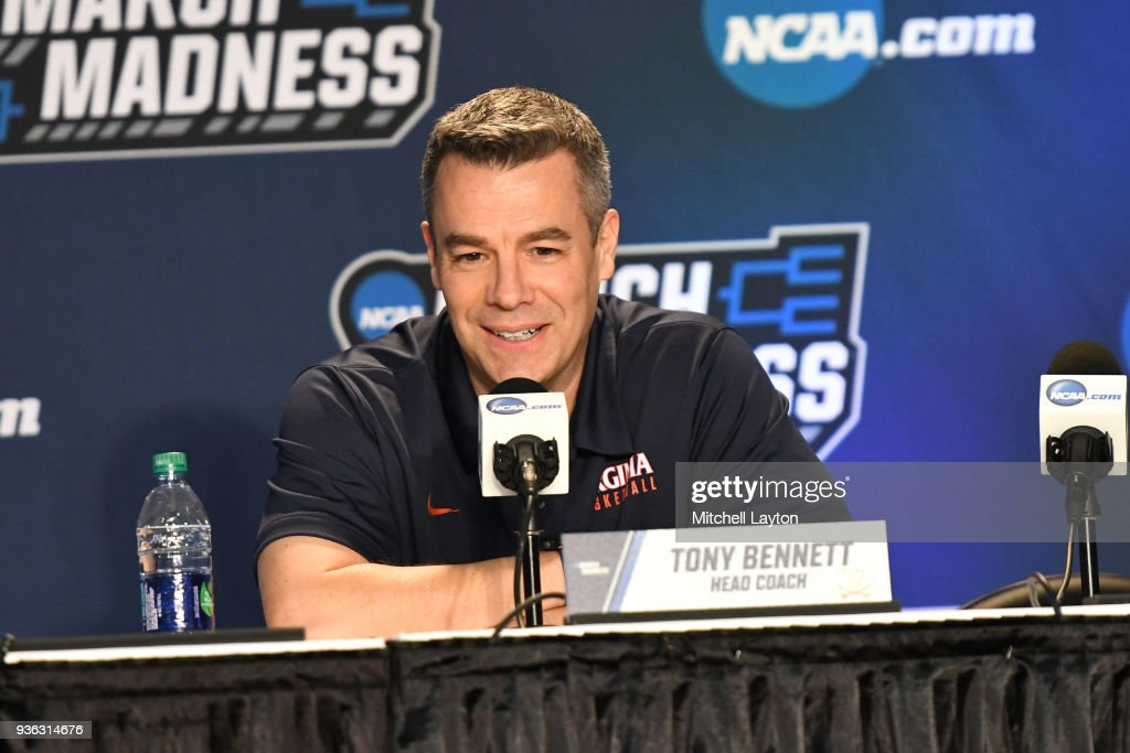 Head coach Tony Bennett of the Virginia Cavaliers addresses the media during media day of the Men's NCAA Basketball Tournament - Charlotte - Practice Sessions at the Spectrum Center on March 15, 2018 in Charlotte, North Carolina. Photo by Mitchell Layton/Getty Images) Tony Bennett