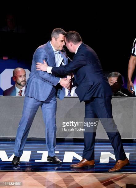 Head coach Tony Bennett of the Virginia Cavaliers and head coach Chris Beard of the Texas Tech Red Raiders shake hands prior to the 2019 NCAA men's...