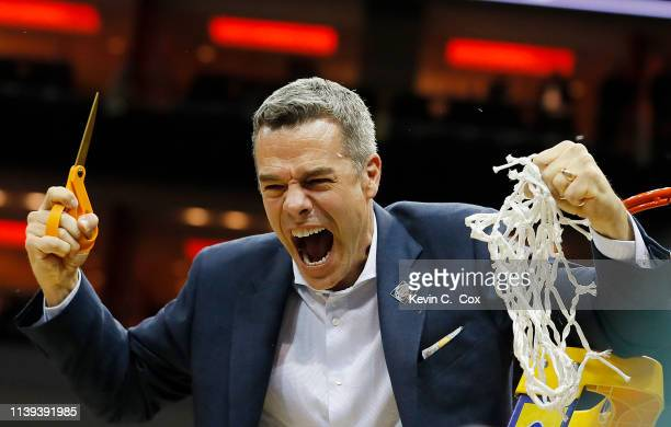 Head coach Tony Bennett of the Virginia Cavaliers celebrates after defeating the Purdue Boilermakers 8075 in overtime of the 2019 NCAA Men's...