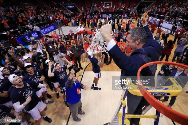 Head coach Tony Bennett of the Virginia Cavaliers celebrates after defeating the Purdue Boilermakers 80-75 in overtime of the 2019 NCAA Men's...