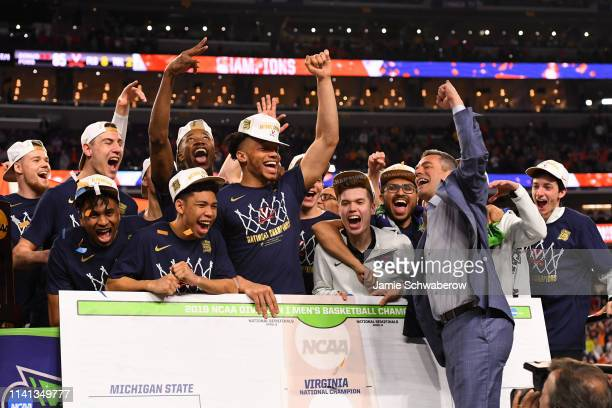 Head coach Tony Bennett of the Virginia Cavaliers celebrates after defeating the Texas Tech Red Raiders in the 2019 NCAA Photos via Getty Images...