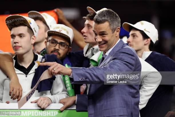 Head coach Tony Bennett of the Virginia Cavaliers celebrates his teams 8577 win over the Texas Tech Red Raiders during the 2019 NCAA men's Final Four...